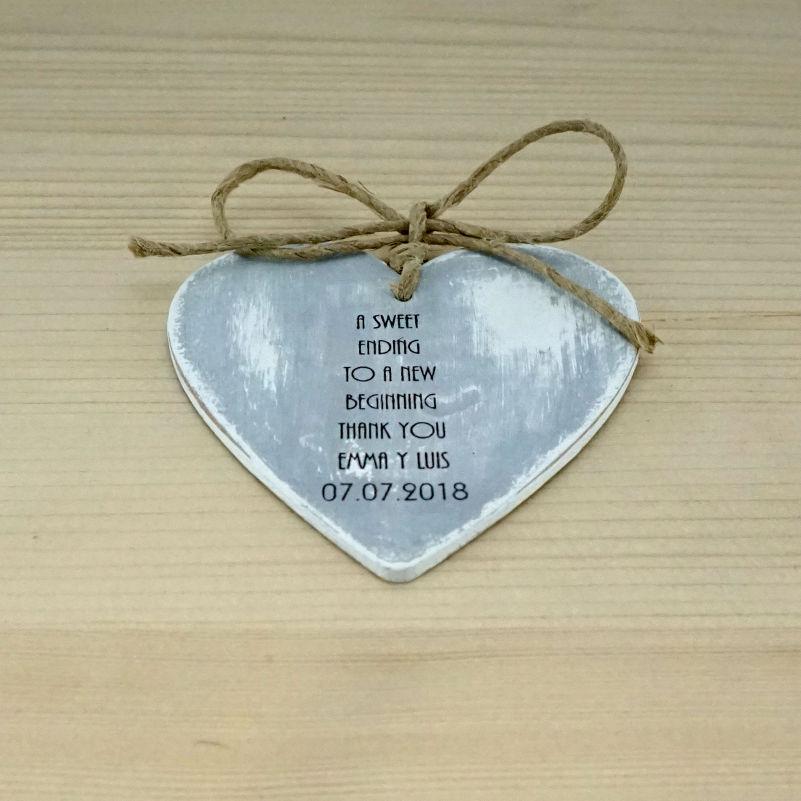 Corazón boda gris