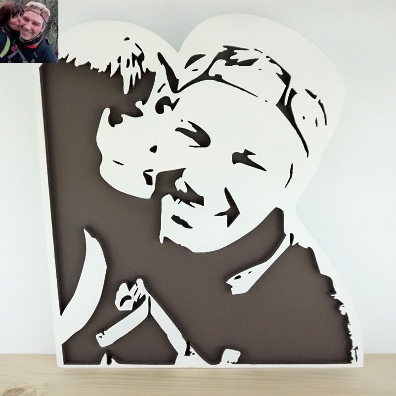 Retrato en madera grande Natalia-Norbert