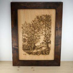 retrato madera con marco