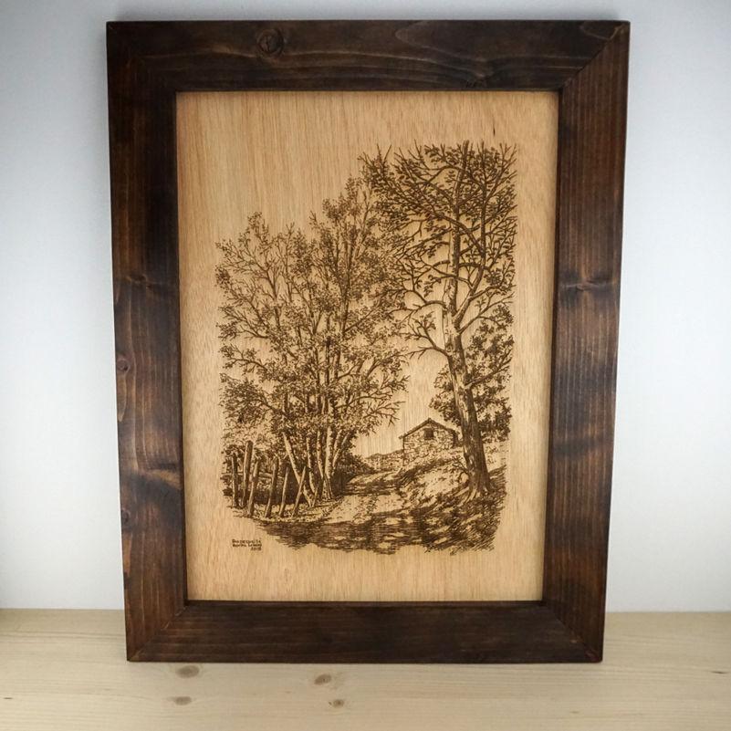 Retrato en madera con marco - Artecitos