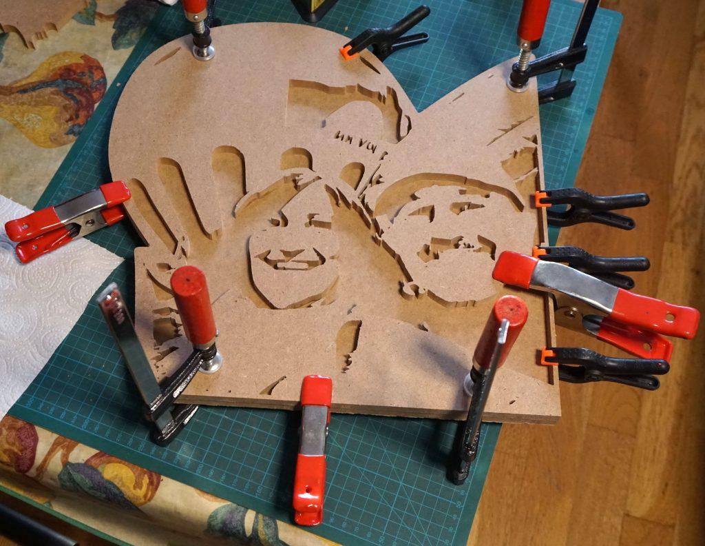 Retrato madera - encolado