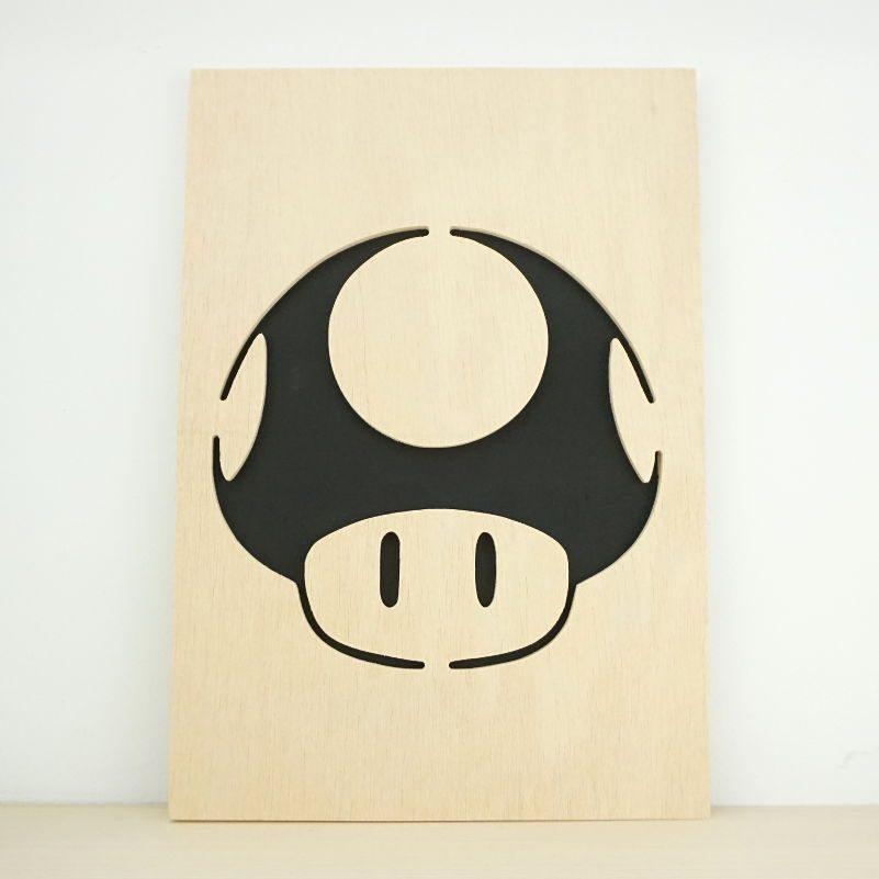 Cuadro madera Seta Mario Bros