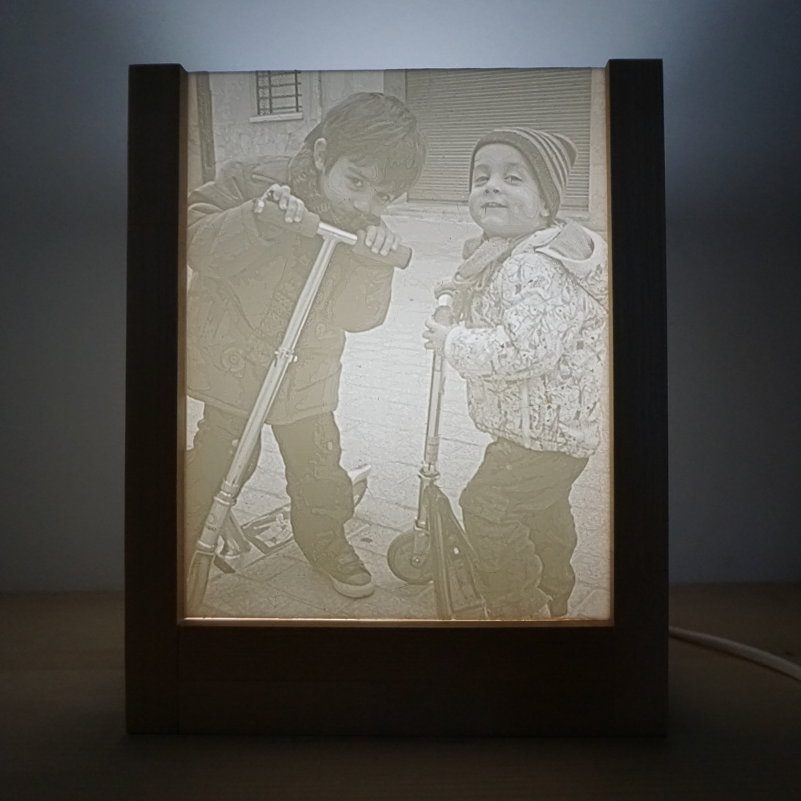Lámpara 3D madera foto3