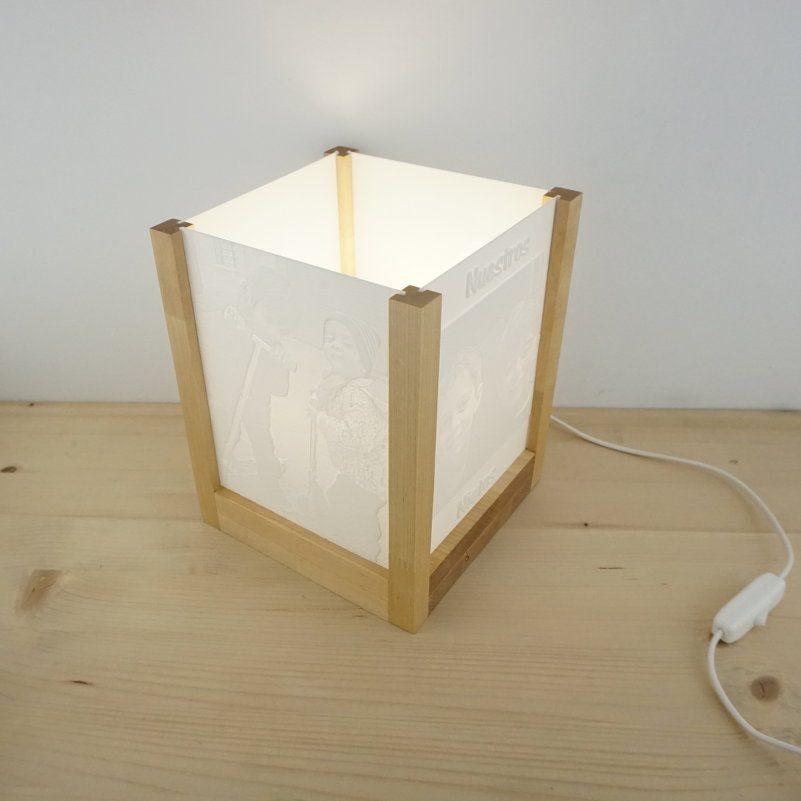 Lampara 3D madera ángulo
